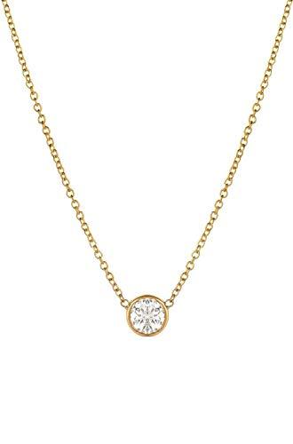 (14k gold diamond solitaire necklace, diamond bezel necklace 0.10ct)