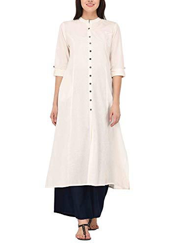 (Ladyline Women's Pure Cotton Plain Tunic Top Front Slit 3/4 Sleeves Roll-up Chinese Neck Buttons Down Pocket Long Kurti Kurta Off-White Chest  Body-40-41 )