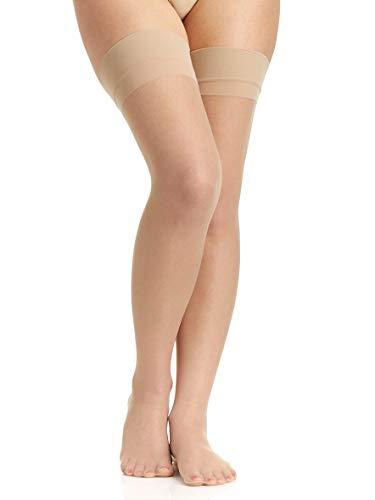 Berkshire Kicks Silky Sheer Stockings - Sandalfoot - C/D - Nude (Gartered Stockings)