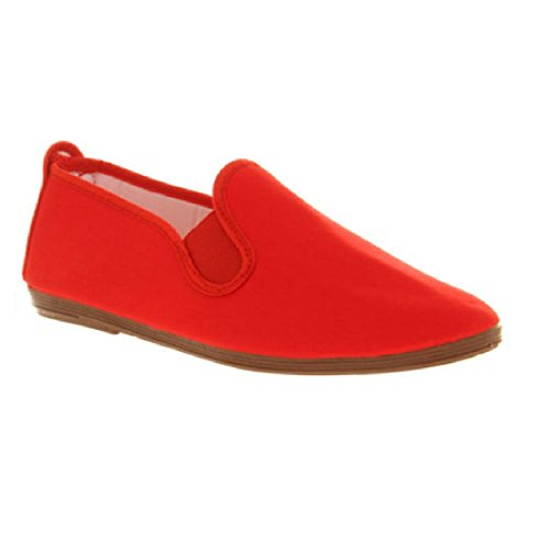 Ladies Womens Girls New Flossy Like Style Canvas Pumps Plimsolls Plimsoles Shoes Size Red (Fl1)