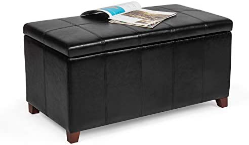 Asense Storage Ottoman Bench Faux Leather Upholstery Rectangular Lift Top Footrest - the best ottoman chair for the money