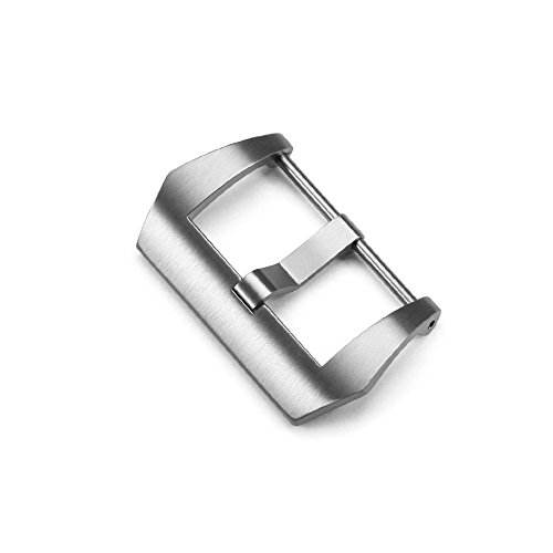 20mm Screw-in Tang Buckle Clasp in Brushed Finish Stainless Steel for Watch Band Leather Straps,Silver