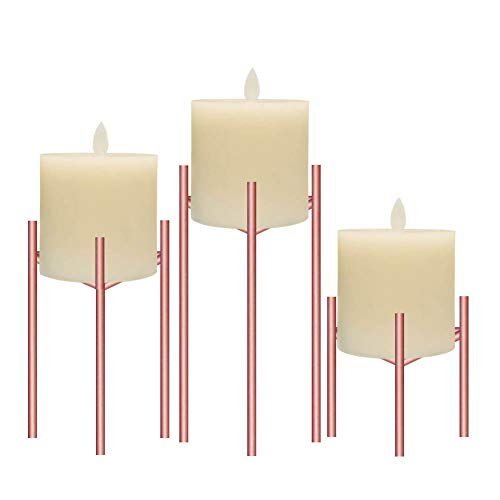 Only-us Metal Pillar Candle Holders Set of 3 Rose Gold Candlesticks for Fireplace/Living Room/Dinning Room Table Candelabra Decoration Modern Art Classic Design with Geometric Shape