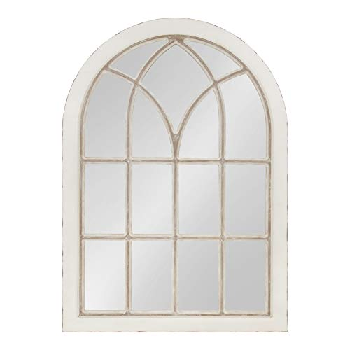 Kate and Laurel NIkoletta Large Classic Wood Windowpane Arch Mirror, 31x44, Distressed Coastal White (Barn Pottery Decorations)