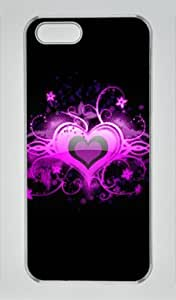 Heart Design on Black Iphone 5 5S Hard Shell with Transparent Edges Cover Case by Lilyshouse