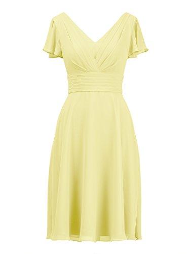 Chiffon Party V Neck Alicepub Bridal Short Gown Evening Dress Yellow Bridesmaid Formal 0ES1a