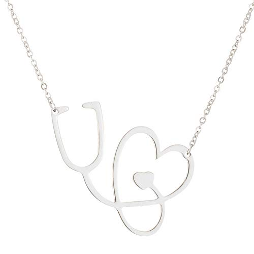 JczR.Y Rose Gold ECG Stethoscope Necklace Pendant Love Heart Titanium Steel Lighting Necklace for Women Jewelry ()