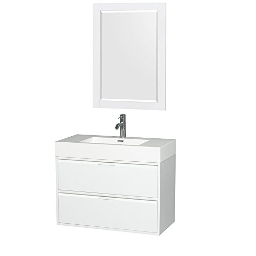 Wyndham Collection Daniella 36 inch Single Bathroom Vanity in Glossy White, Acrylic Resin Countertop, Integrated Sink, and 24 inch Mirror