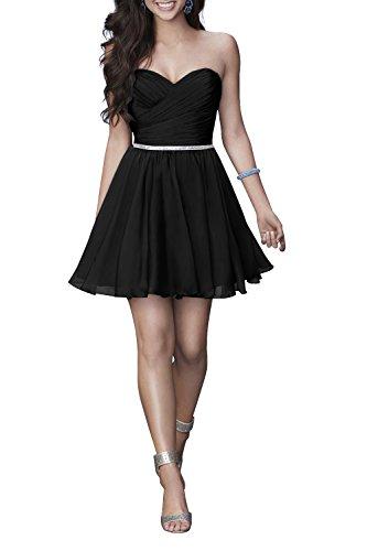 Chiffon Kleider Schwarz Sommer Abendkleider Mini Cocktailkleider Charmant Sexy Tanzenkleider Heimkehr Kurz Damen q8HggAwR