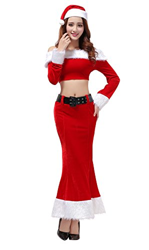 [YFFaye Women's Christmas Costume Role-playing Sexy Red Long Dress Set] (Young Elvis Presley Costumes)
