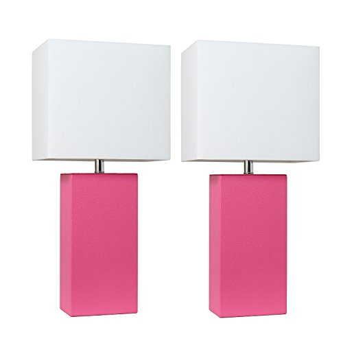 (Elegant Designs LC2000-HPK-2PK 2 Pack Modern Leather Table Lamps with with White Fabric Shades, Hot)