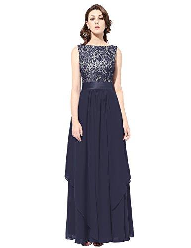 Dresstells®Mujer Vestido De Fiesta Ceremonia Danza Largo Gasa Con Aplicaciones Sin Mangas Azul Marino