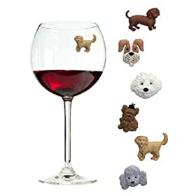 Simply Charmed Magnetic Dog Wine Charms or Glass Markers for Stemless Glasses – Great Birthday or Hostess Gift for Dog Lovers – Set of 6 Cute Puppy Glass Identifiers