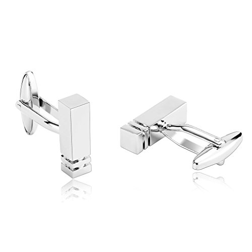New Twin Set Cufflinks (AmDxD Jewelry Stainless Steel Men Cufflinks Silver Classic Pillar Column Twin Grooves Cuff Links)