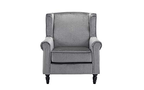 Classic Scroll Arm Velvet Fabric Accent Chair, Living Room Armchair Grey
