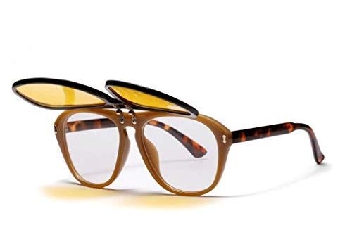 (Double Flip Female Sunglasses Large Frame Transparent Lens Glasses European and American Retro Adult Glasses)