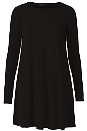 Forever Women\'s Long Sleeves Plus Size Plain Swing Hanky Dress at ...