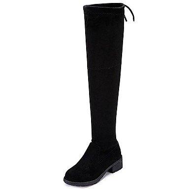 Wuyulunbi@ Zapatos De Mujer De Tela Confort Otoño Botas Botas De Moda Puntera Redonda Sobre La Rodilla Botas Lace-Up For Casual Negro,Negro,Us5.5 / Ue36 / Uk3.5 / Cn35 US6 / UE36 / UK4 / CN36