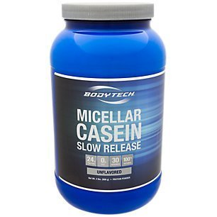 BodyTech Micellar Casein Protein Powder, Slow Release for Overnight Muscle Recovery 24 Grams of Protein per Serving Unflavored (2 Pound)