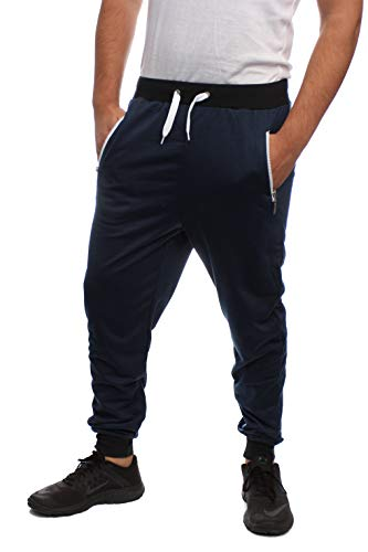Blend Sweatpants Cotton (Joggers Men Sweatpants Marled Slim FIT Contrast Zipper (Navy Fleece, Extra Large))
