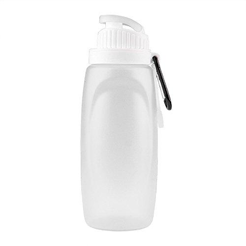 Myguru 320ML(11oz) Outdoor Folding Sport Silicone Water Bottles BPA Free Children Travel Water Kettle FDA Approved Collapsible Water Bottle for Traveling Camping Hiking Walking Running Jogging (White)
