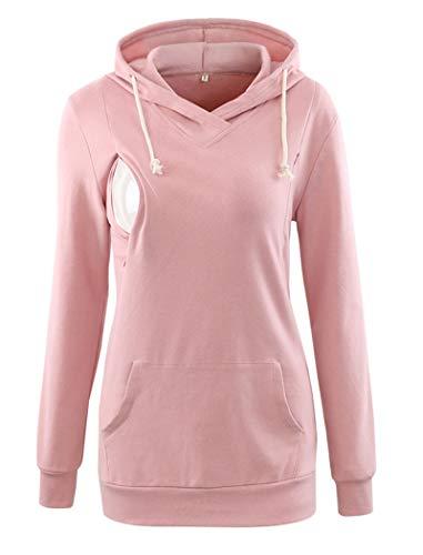 Ecavus Womens Fleece Maternity Nursing Sweatshirt Hoodie Zip up Pullover Breastfeeding Top with Kangaroo Pocket ()