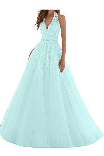 Ausschnitt Neckholder Ballkleider Partykleider Linie Braut Himmel La Abendkleider Blau Blau Prinzess Marie V Spitze A 8xTWwqXzY