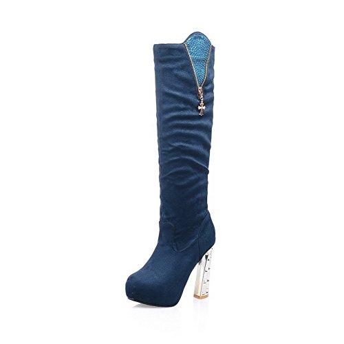 AllhqFashion Mujeres Puntera Redonda Sólido Caña Alta Tacón Alto Puntera Cerrada Botas Azul