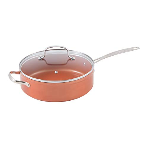NuWave Copper 4 Quart Duralon Ceramic Everyday Pan with Lid (Perfect Green Nuwave Cookware)