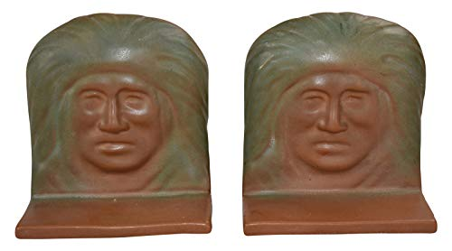 Van Briggle Pottery 1920s Native American Indian Matte Brown and Green Bookends (Van Pottery Briggle)