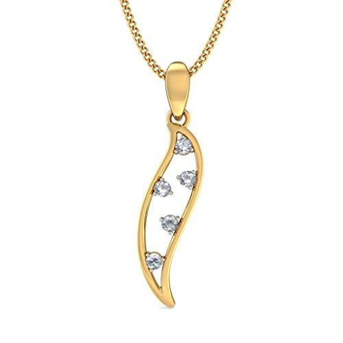 18K Or jaune 0,13CT TW Round-cut-diamond (IJ   SI) Pendentif