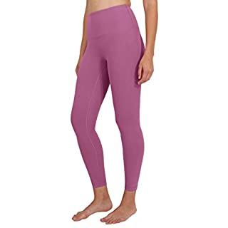 Yogalicious High Waist Ultra Soft Lightweight Leggings - High Rise Yoga Pants - Strawberry Nectar Ankle Length - Large