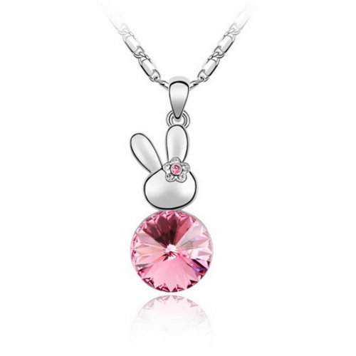 Crystal Eye Bunny (Alvdis Premium Bunny Shaped Pink Crystal Necklace - Genuine Swarovski Crystal Elements Pendant)