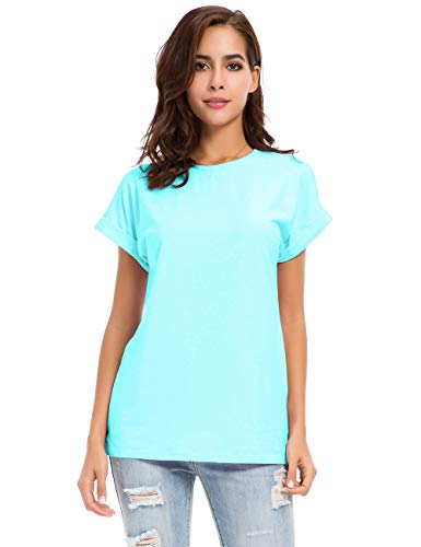 Womens Short Sleeve Loose Fitting T Shirts Cotton Casual Tops Light Blue