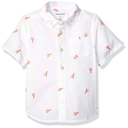 Amazon Essentials Toddler Boys' Short-Sleeve Poplin/Chambray Shirt, Lobster, 4T