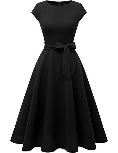DRESSTELLS Women's Vintage Homecoming Tea Dress Cocktail Party Swing Dress with Cap-Sleeves Black XS