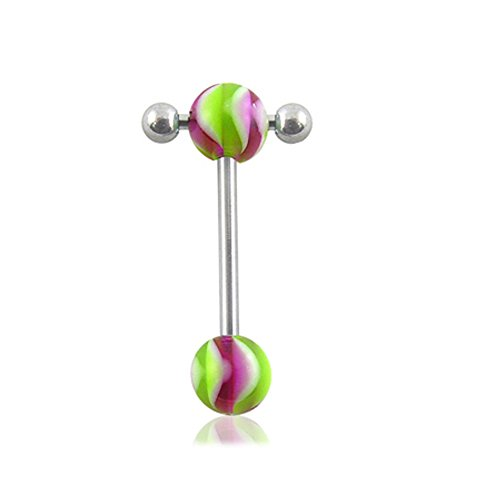 (Straight Barbells 14Gx3/4 (1.6x19MM) 316L Surgical Steel with 6/6MM UV Propeller Ball and Small Barbell with Ball Tongue Piercing Rings)