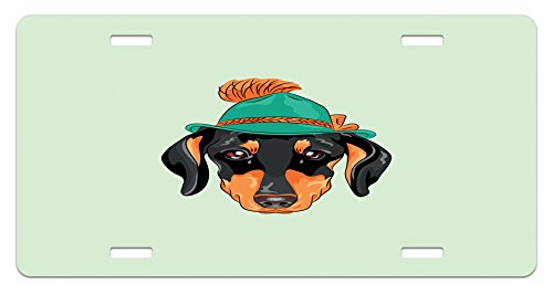 (Ambesonne Dachshund License Plate, Hipster Pure Breed Dog Silhouette in a Green Tyrolean Hat Cute Dachshund Puppy, High Gloss Aluminum Novelty Plate, 5.88 L X 11.88 W Inches, Multicolor)