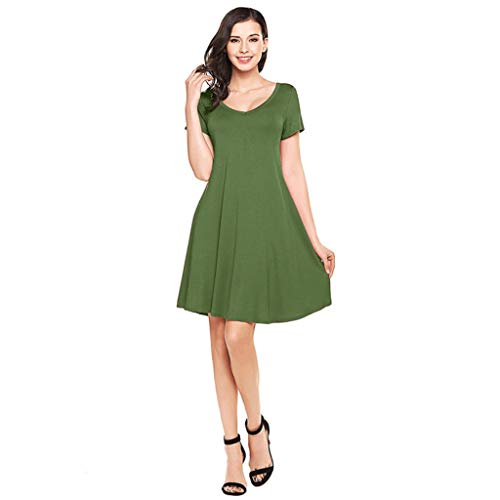 Women Ladies Leisure Short Sleeve Swing Dress with Pocket Solid Summer Sundress & -