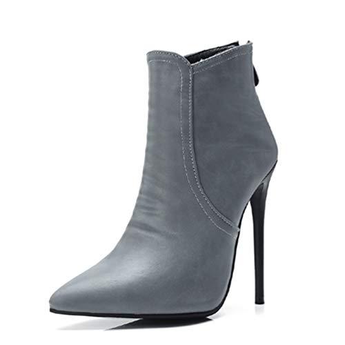JOYBI Women Sexy Pointed Toe Ankle Boots Waterproof PU Leather Zip Slip On Fashion Thin High Heel Booties Grey