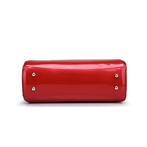 Diagonale Rétro Sac Paquet Main Dames Soirée Red Verni De Occasionnels Sac Mode Cuir En à Sw7HqgP