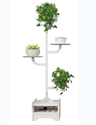(Wrought Iron Plant Frame Wrought Iron Flower Pot Rack Flower Stand Layered Plant Display Stand Indoor and Outdoor (White/Black) (Color : White))