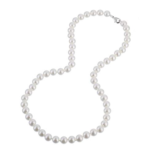 KEZEF Creations Cream White 8-14mm Simulated Faux Pearl Necklace Hand Knotted Strand 16-20 Inch (20.00, 8.0mm)