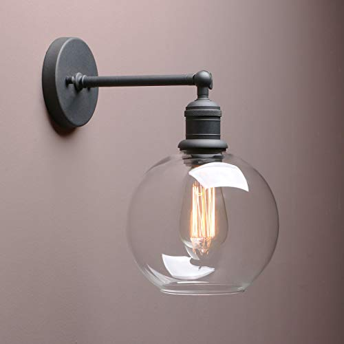 1-Light Wall Sconce, Yosoan Mini Vintage Industrial Wall Light Fixture with Round Clear Glass Globe Shade for Kitchen Bathroom Porch Dining Room Hallway Bedroom Hotel Bar Hallway Restaurant(Black)