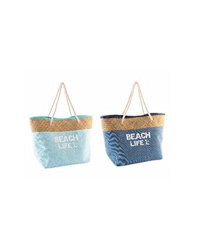 Hogar y Mas Bolso de Fibra Natural para Playa - Azul claro