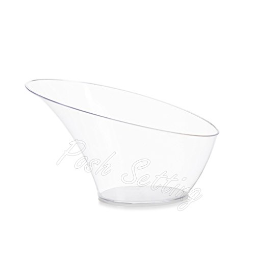 Posh Setting Crystal Clear, Disposable Premium Hard Plastic Small Modern Style Bowl, Party, Salad, Snack and Fruit Bowl 5 Pack