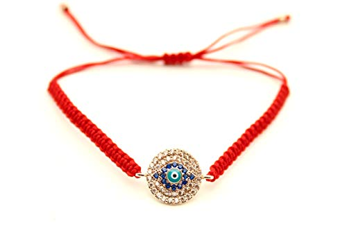 Handmade Adjustable Evil Eye Bracelet I Red and Blue Braided String I Bring Good Luck (Red) ()