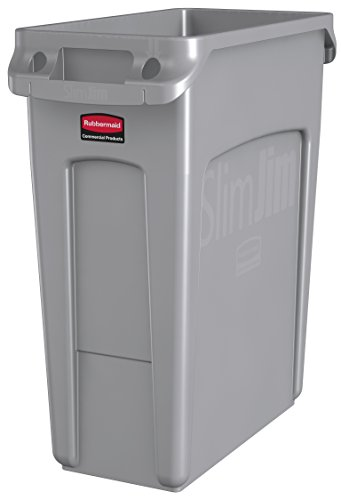 Trash Receptacle Liner (Rubbermaid Commercial Vented Slim Jim Trash Can Waste Receptacle, 16 Gallon, Gray, Plastic, 1971258)