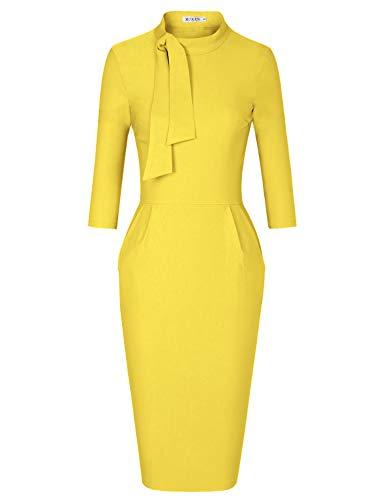 MUXXN Flattering Crew Neck Vintage Rockabilly Long Formal Wedding Guest Dress (Yellow XL) -