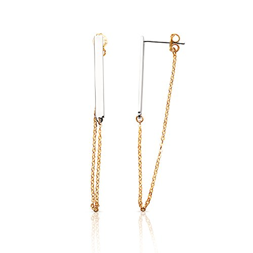 Bar Earrings with Stylish Dangling Chain in 14K yellow and White Gold by Jewel Connection